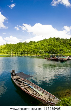 Floating ship in Ratchaprapa dam Suratthani, Thailand.