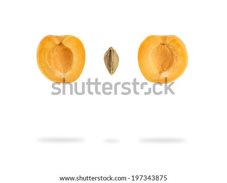 floating sliced apricot - stock photo