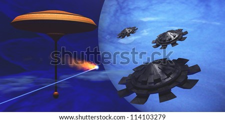 Floating Space City - A meteor goes flying past a space station as three flying saucers come in for a landing. - stock photo
