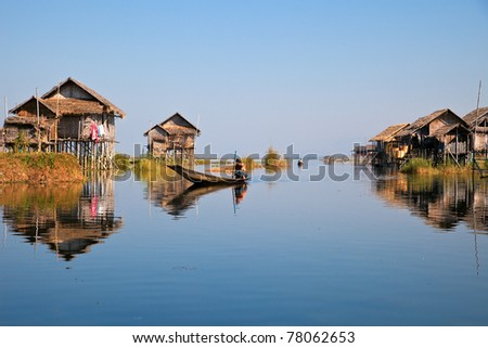 Floating village in Inle lake - stock photo
