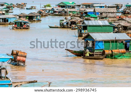 Floating Village In Tonle Sap, Cambodia