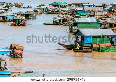 Floating Village In Tonle Sap, Cambodia  - stock photo