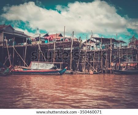 Floating village Kompong Phluk, Siem Reap, Cambodia  - stock photo