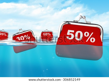 floating wallets with number at ocean, discount concept - stock photo