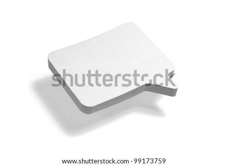 Floating white paper note speech bubble isolated on white with room for your text