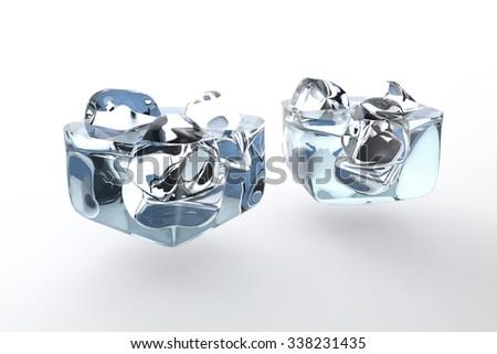 Floating wine plus ice, special techniques, blue liquid - stock photo