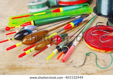 Floats and fishing gear - stock photo