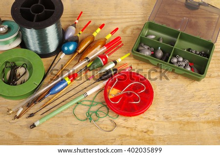 Floats and fishing gear. - stock photo