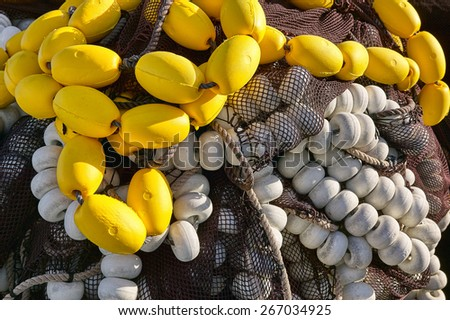 Floats and fishing nets - stock photo