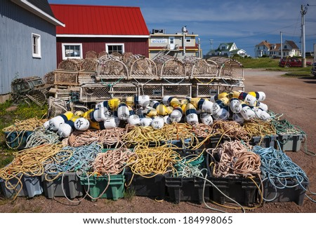 Floats, rope and lobster traps in North Rustico, Prince Edward Island, Canada. - stock photo
