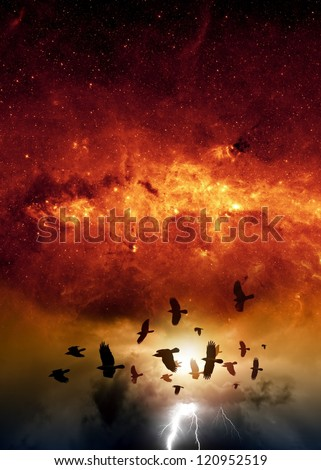 Flock of flying ravens, crows in dark sky, bright lightning, red galaxy, end of world.  Elements of this image furnished by NASA/JPL-Caltech - stock photo