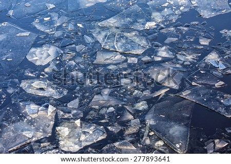 Floe floating on the water surface. Background - stock photo