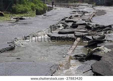 flood at mountains - beskid - Poland - stock photo