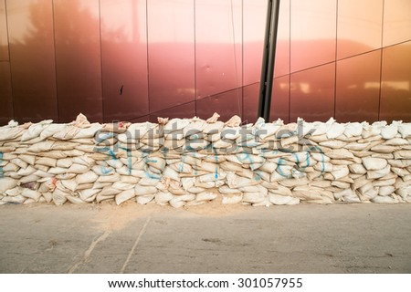 Flood damage over a wide area stores in Bangkok, Thailand - stock photo