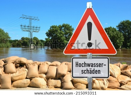 Flood in Magdeburg, Germany - stock photo