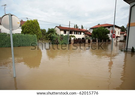 Flood in Miren - Slovenia, Europe - stock photo
