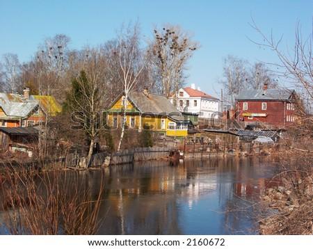 Flood in village - stock photo
