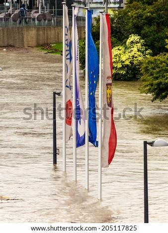 flood of 2013. linz, austria. overflows and flooding - stock photo
