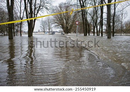 Flood of the river in the spring within the city. - stock photo