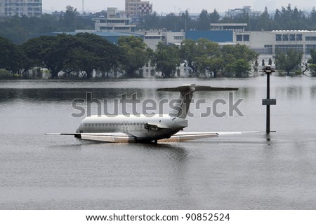 flood situation in Thailand airport - stock photo