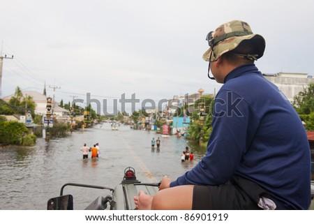 flood waters in Ayuthaya, Thailand - stock photo