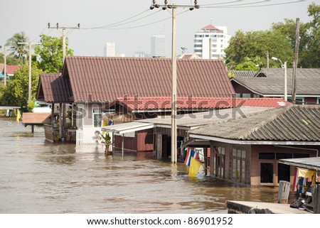 flood waters in Ayuthaya, Thailand - stock photo