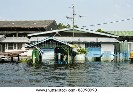 Flood waters in Bangkok, Thailand - stock photo