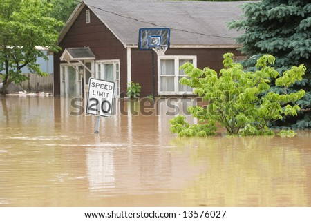 flood waters overtake a town in Indiana - stock photo