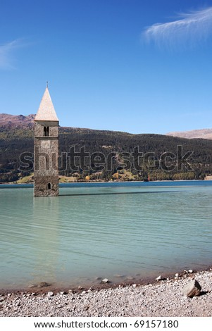 Flooded church tower in Lake Resia - stock photo
