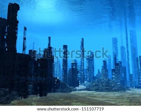 Flooded city - stock photo