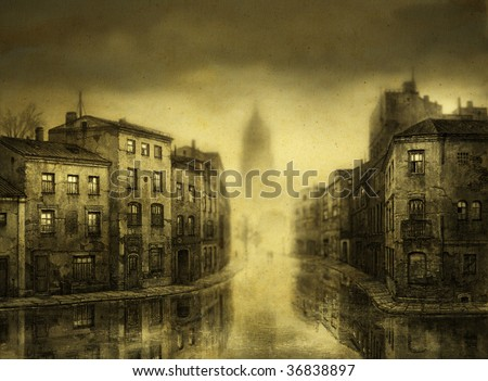 Flooded city. Tempera on paper & processing. - stock photo