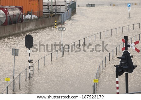 Flooded coastal town in the Netherlands