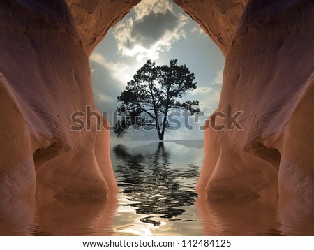 Flooded Desert Cave - stock photo