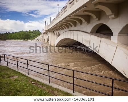 Flooded Downtown Bridge - stock photo