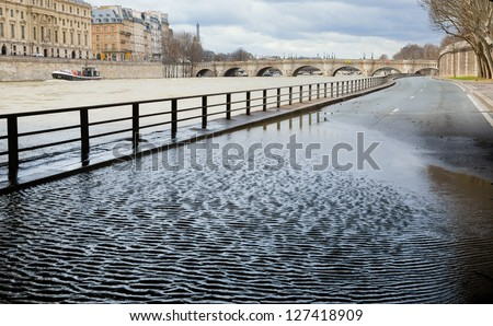 Flooded embankments in Paris - stock photo