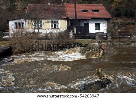 flooded house in Moravian city - stock photo