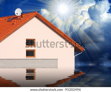 Flooded houses. Insurance business concept. - stock photo