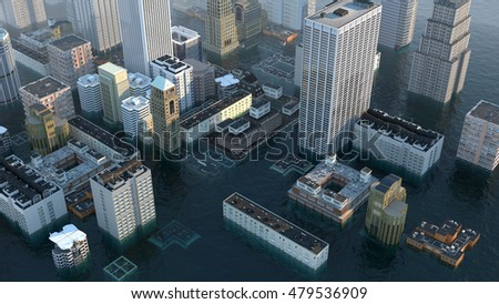 flooded metropolis top view 3d illustration