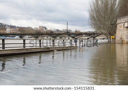 Flooded Parisian embankments - stock photo