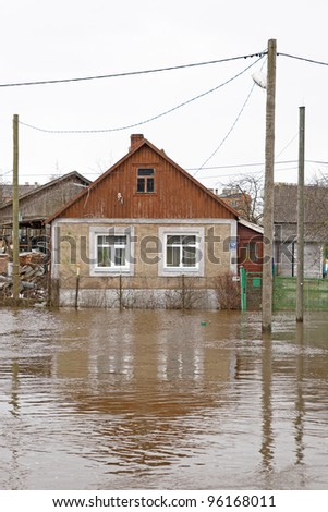 flooded private house - stock photo