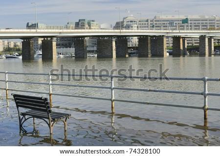 Flooded river front - Washington DC, Anacostia River - stock photo