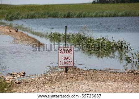 Flooded Road - stock photo