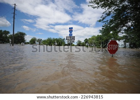 Flooded roadway - stock photo