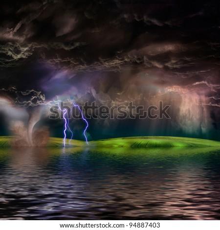 Flooded stormy landscape - stock photo