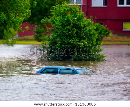 Flooded street - stock photo