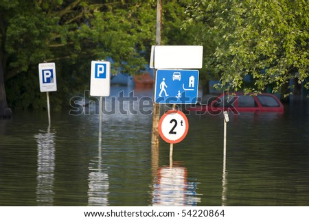 Flooded street in the city - stock photo