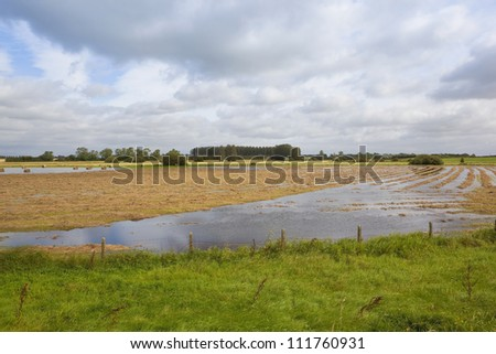 flooded summer landscape with a ruined hay crop in the water meadows of the lower derwent ings in yorkshire england under a cloudy sky - stock photo
