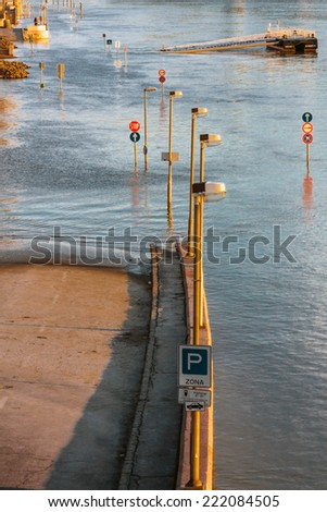 Flooded terrain in Europe - stock photo