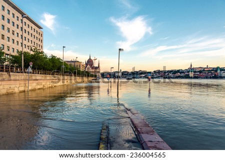 Flooded terrain in Europe at summer - stock photo