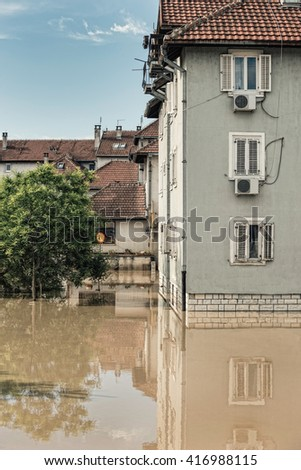 Flooded town - stock photo